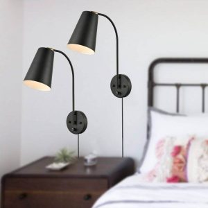 Industrial Black Metal Wall Sconce Set Of Two Plug In with Switch