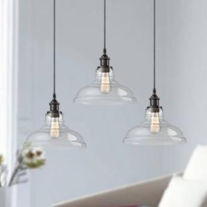 Industrial Glass Pendant Lighting Oil Rubbed Bronze Finish 3 Pack