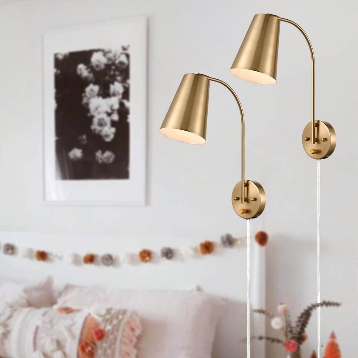 Modern Brass Wall Mount Plug-in Wall Lights Set of 2