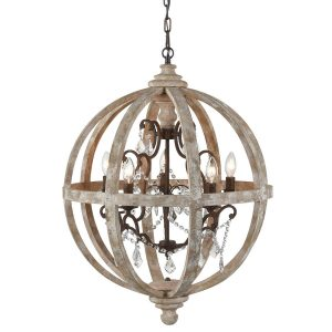 Rustic Metal Chanerliers Crytal Wooden Globe Hanging Chandelier