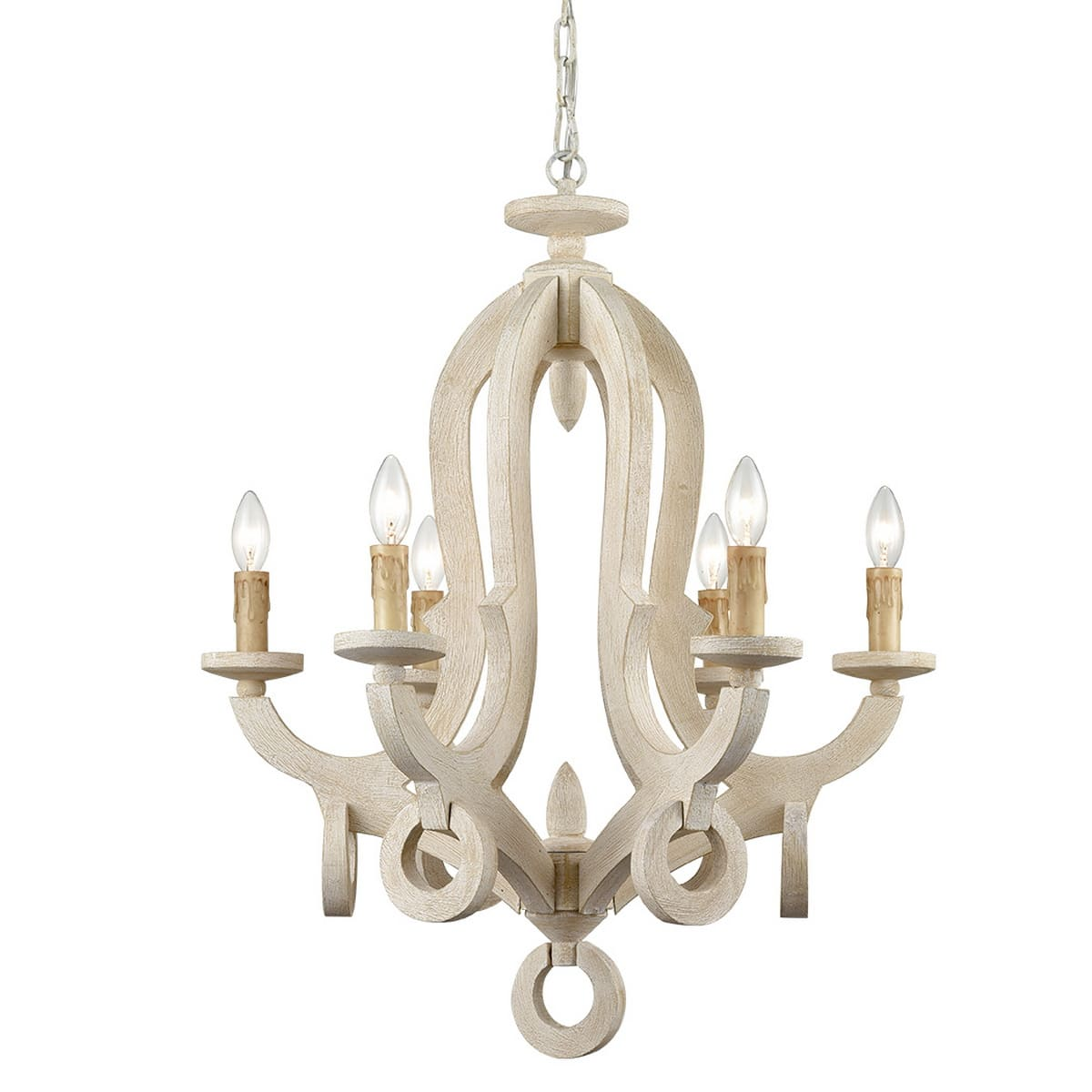 Weathered Wooden Chandeliers Rustic 6 Light Sculpted Candle Light Fixture