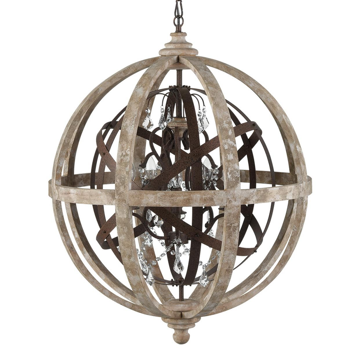 Weathered Wooden Globe Chandelier 5 Light Rustic Metal Crystal Ceiling Lights