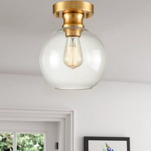 Modern Gold Ceiling Light Fixture Flush Mount Globe Glass