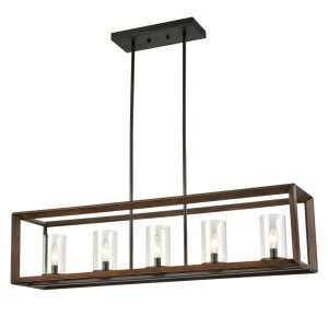 5-Light-Kitchen-Island-Pendant-Lighting-in-Wood-Finish