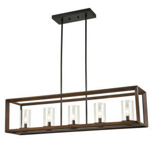 5-Light-Kitchen-Island-Pendant-Lighting-in-Wood-Finish