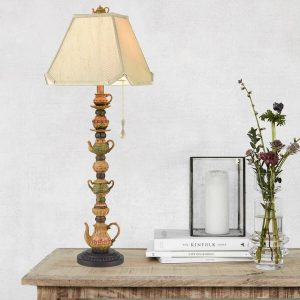 Antique Table Lamp India Brass Fabric Shade for Living Room Bedroom