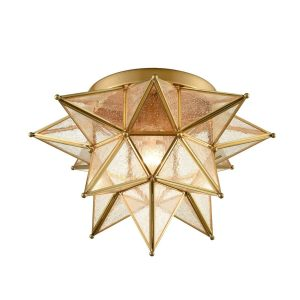 Brass Seeded Glass Moravian Star Flush Mount Ceiling Light, 16-Inch
