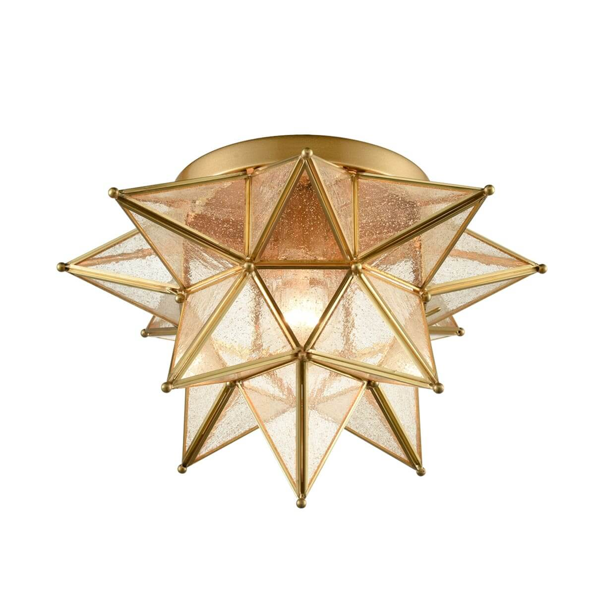Brass Moravian Star Ceiling Light Seeded Glass 15-Inch