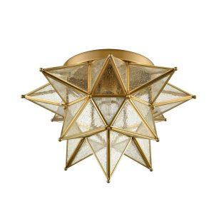 Brass Seeded Glass Moravian Star Flush Mount Ceiling Light, 16-Inch