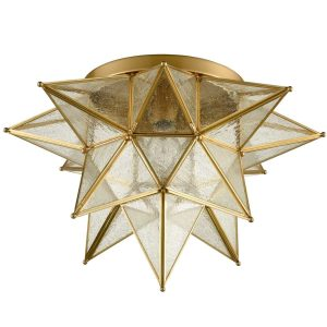 Brass Seeded Glass Moravian Star Flush Mount Ceiling Light, 18-Inch