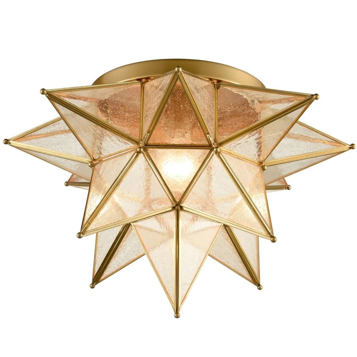 Brass Seeded Glass Moravian Star Flush Mount Ceiling Light 18 Inch