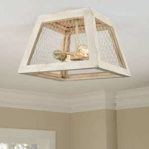 Distressed Wood Farmhouse Ceiling Light Fixture Flush Mount