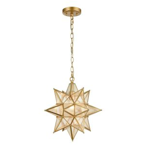 Gold Moravian Star Pendant Light with Seeded Glass 15 Inches