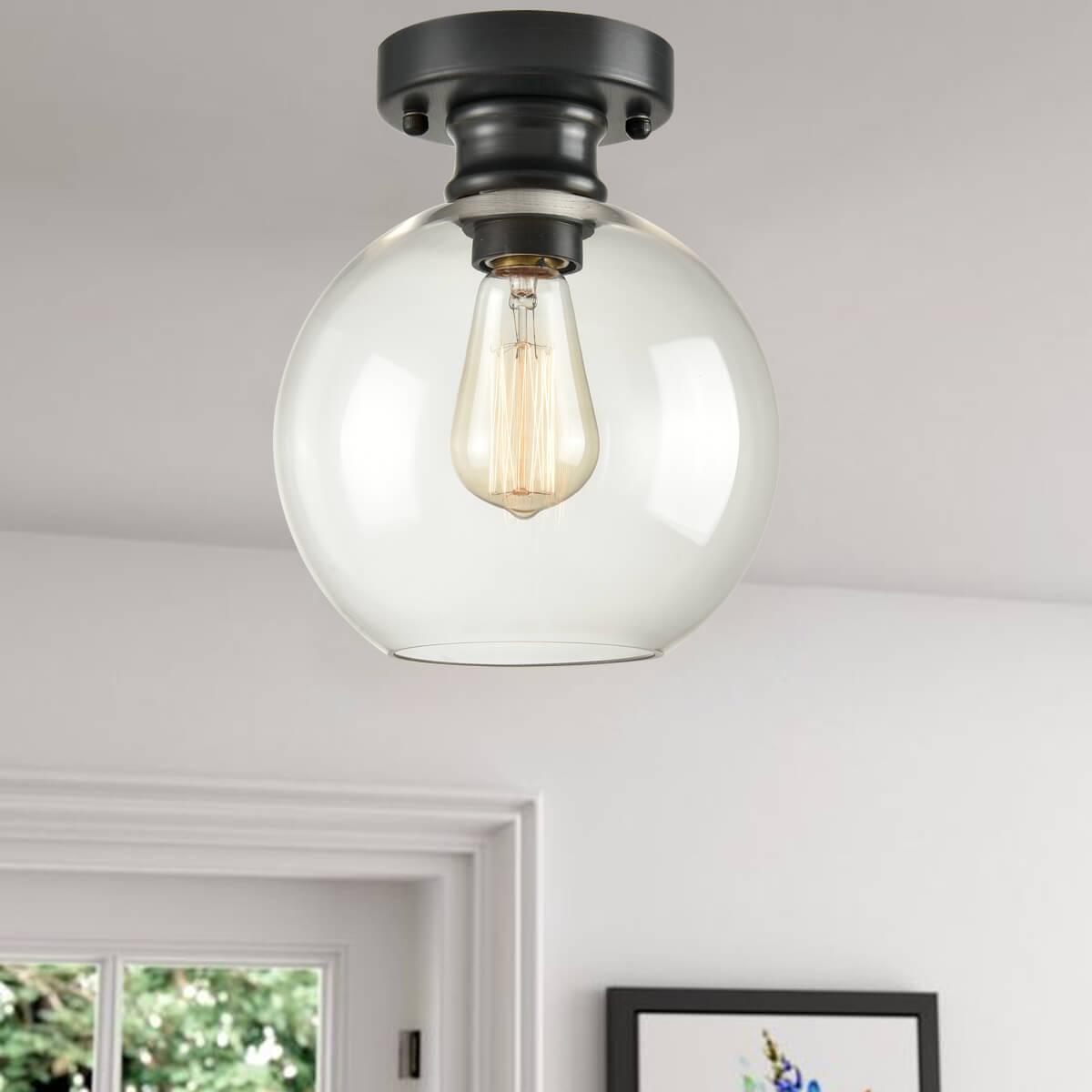 Industrial Ceiling Light Fixture Flush Mount Globe Glass Light Fixtures