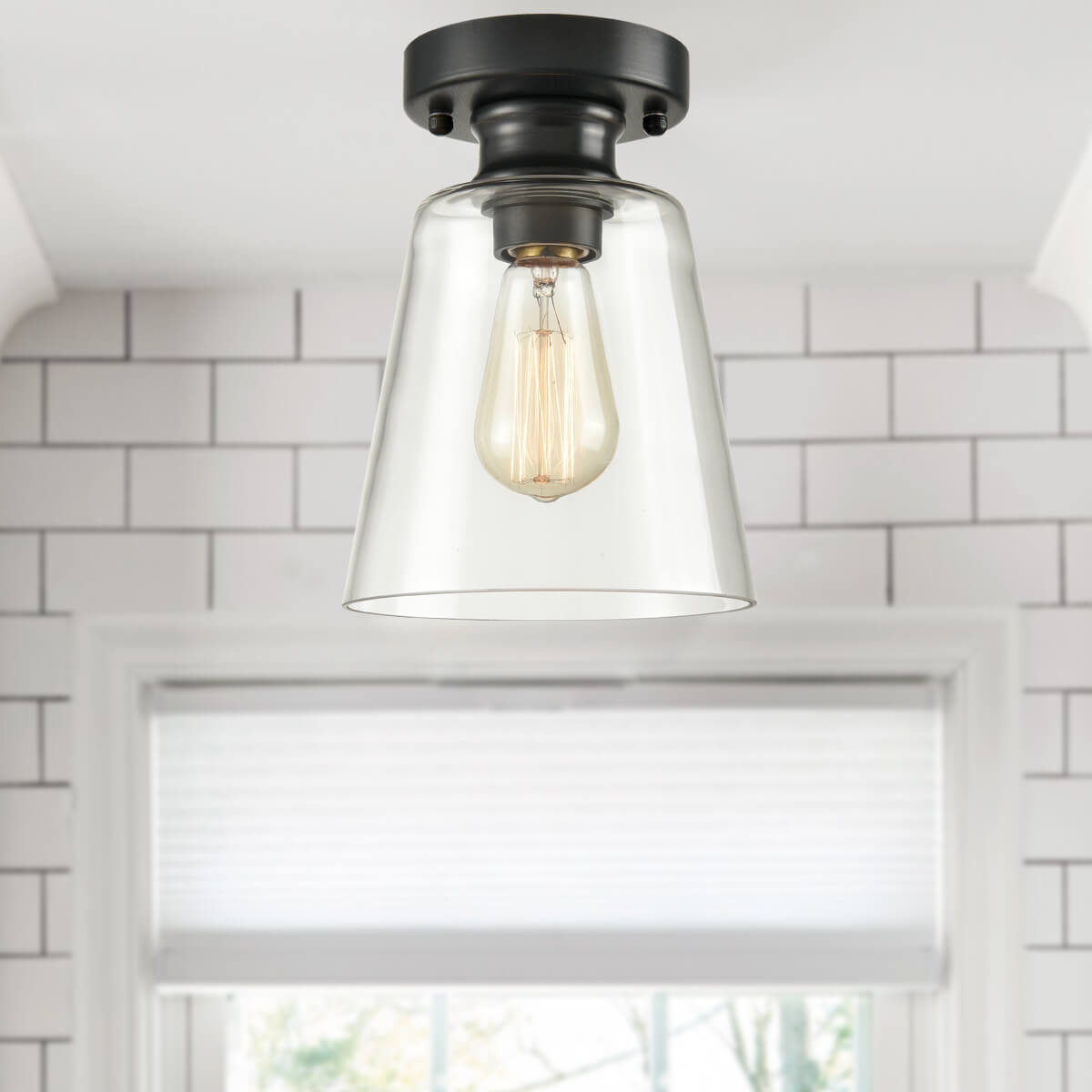 Industrial Ceiling Light Fixture Flush Mount with Clear Glass Shade