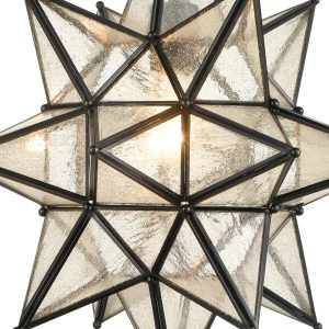 Industrial Moravian Star Pendant Light with Seeded Glass 15 Inches