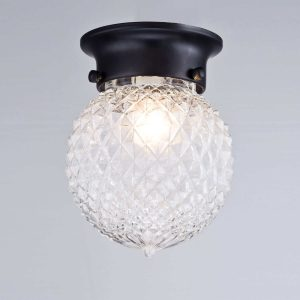 Industrial Oil Rubbed Bronze Pineapple Glass Shade Flush Mount Ceiling Light