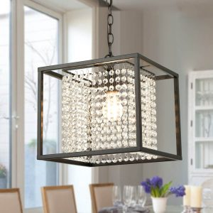 Modern Chandeliers for Dining Rooms with Black Metal Cube Shade