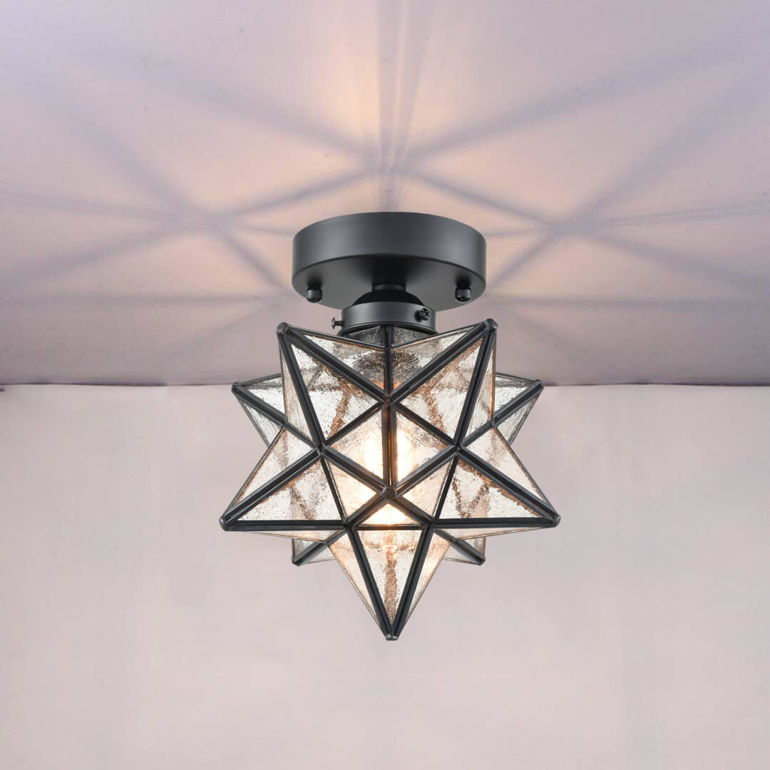 Moravian Star Light Flush Mount Ceiling Light With Seeded Glass
