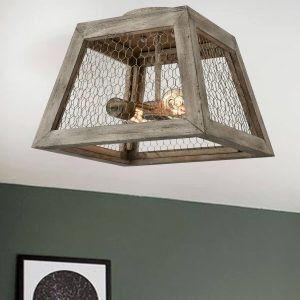 Rustic Distressed Wood Ceiling Light Fixture Flush Mount