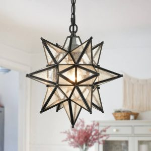 Seeded Glass Industrial Moravian Star Pendant Light 13 Inches