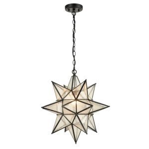 Seeded Glass Industrial Moravian Star Pendant Light 19 Inches