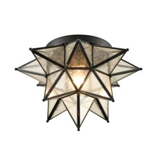 Seeded Glass Moravian Star Flush Mount Ceiling Light, 15-Inch, Black