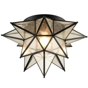 Seeded Glass Moravian Star Flush Mount Ceiling Light, 18-Inch, Black