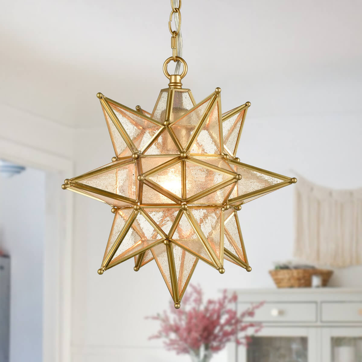 Seeded Glass Moravian Star Light Gold Pendant Lighting 13 Inches