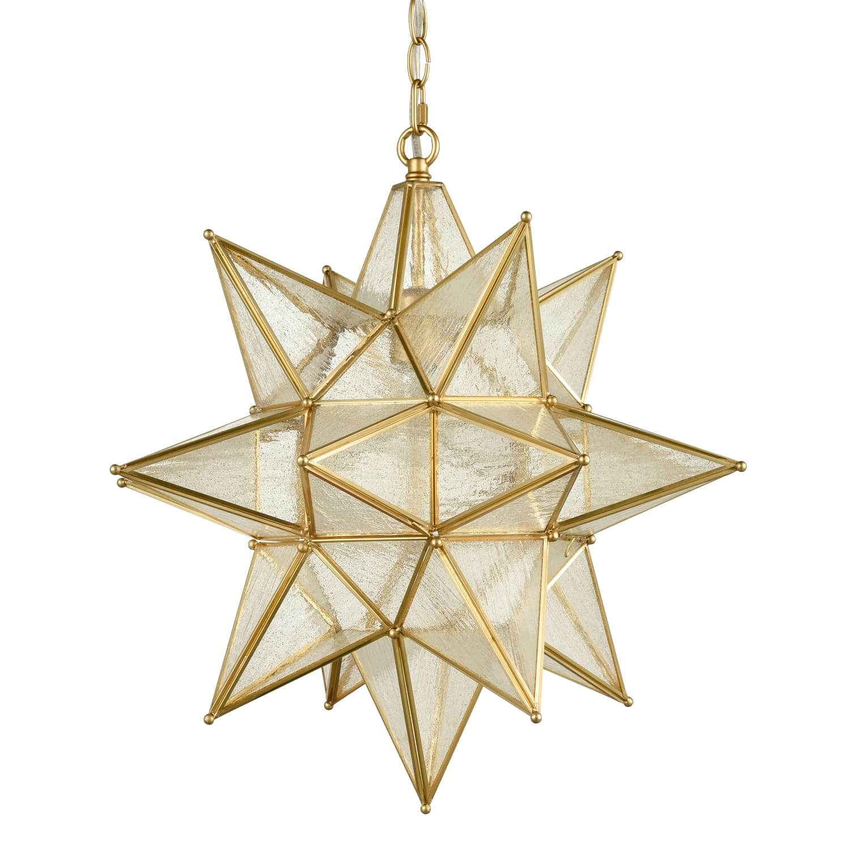 Seeded Glass Moravian Star Light Gold Pendant Lighting 19 Inches