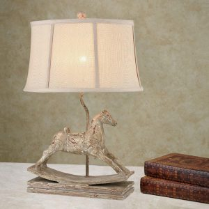 Vintage Distressed Table Lamp Fabric Shade Bedside Desk Lamps for Bedroom, Living Room, Office, Kids Room, Girls Room