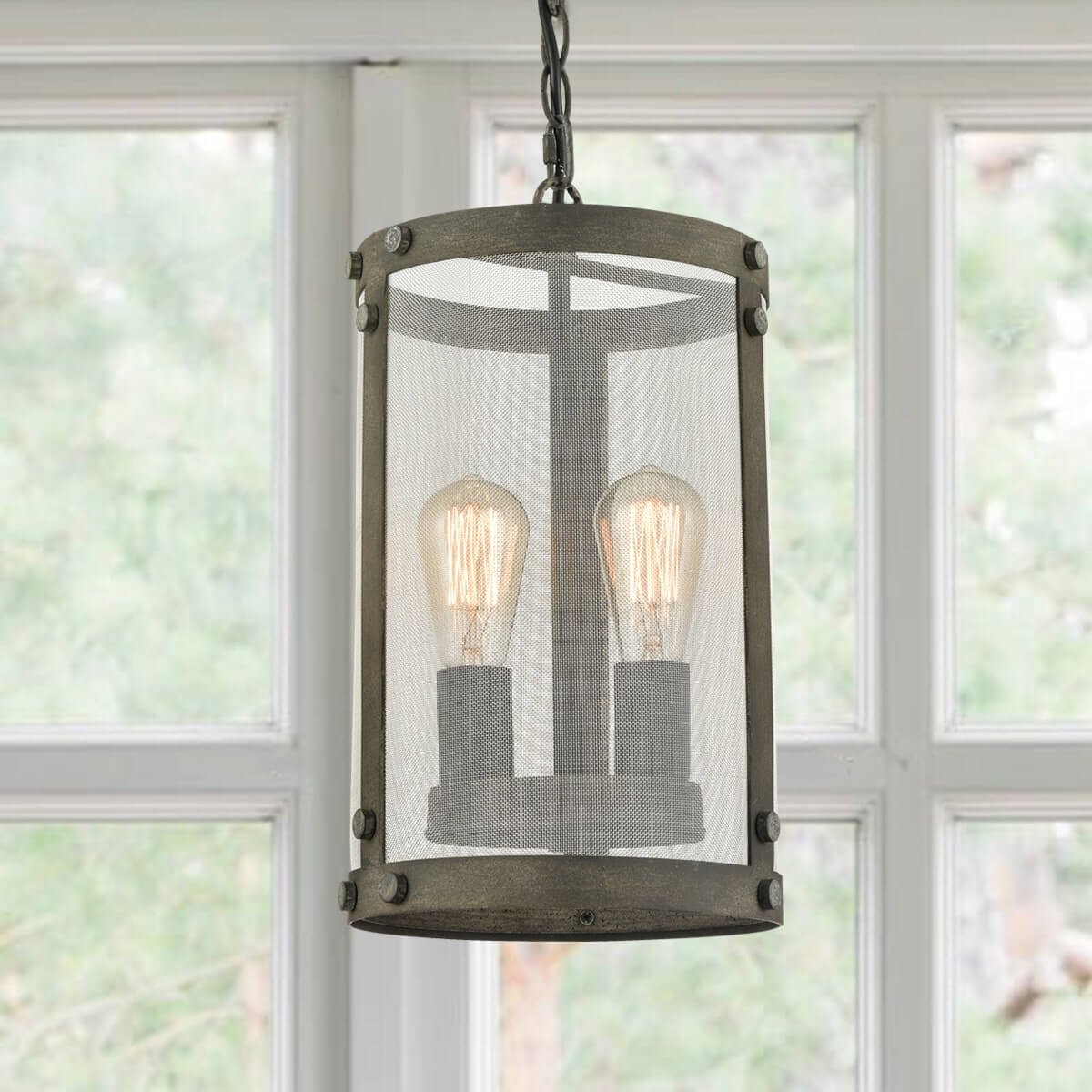 Vintage Cylinder Pendant with Metal Mesh Chain-Hung