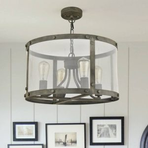 Vintage-Metal-Mesh-Drum-Shade-Chandelier