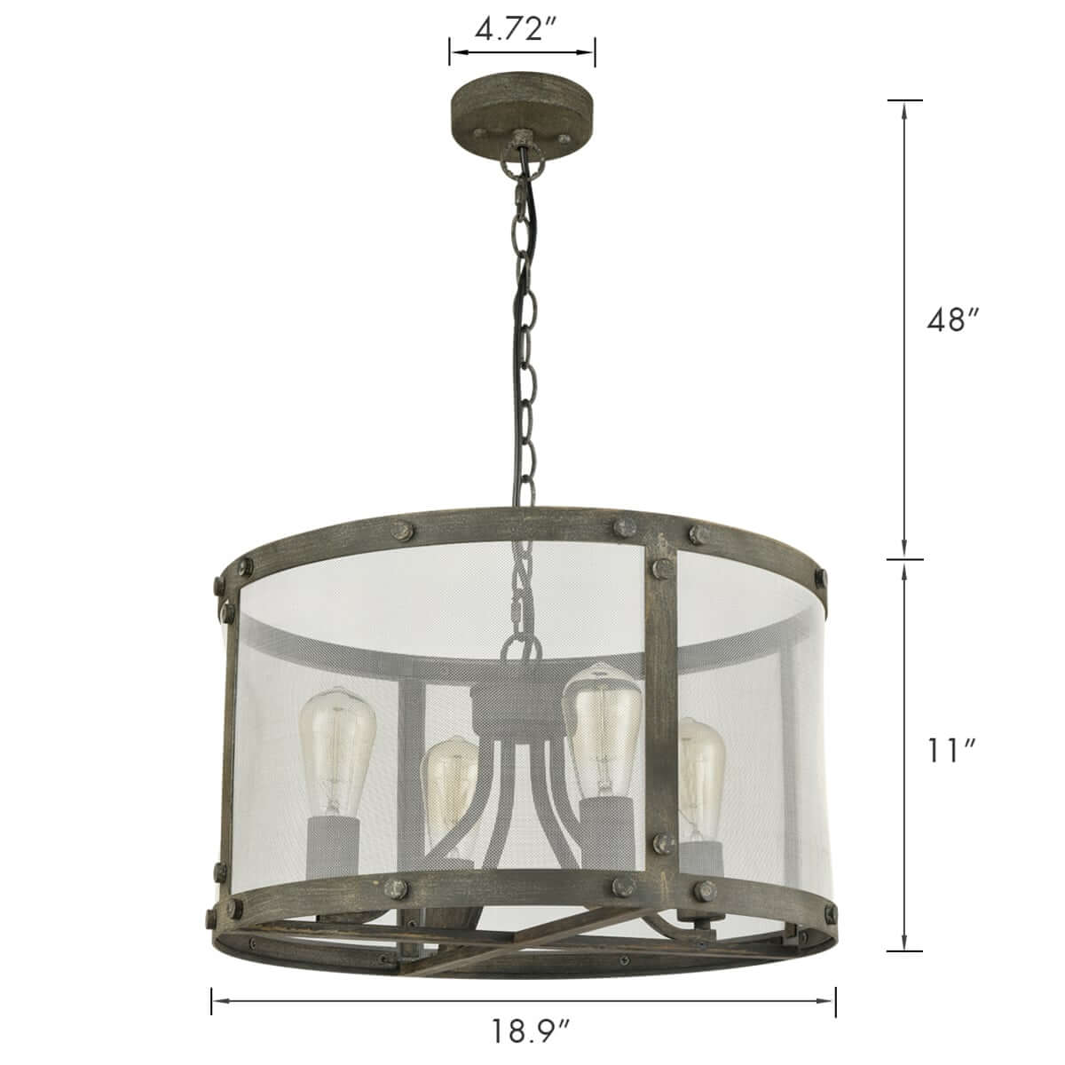 Vintage Metal Mesh Drum Shade Chandelier