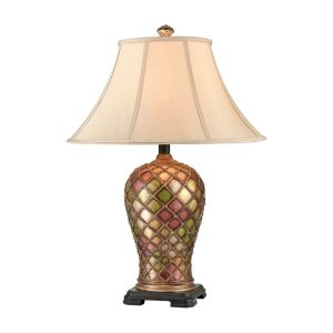 Vintage-Table-Lamp-Colorful-Vase-Bronze-Bedroom-Living-Room-Cloth-Shade-Reading-Lamps
