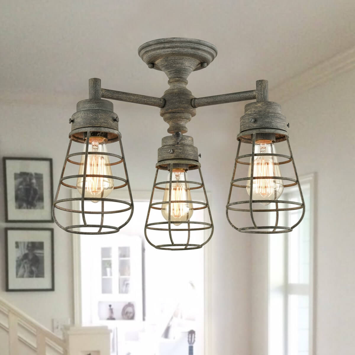 3 Light Cage Gray Rustic Semi Flush Ceiling Lights Fixture