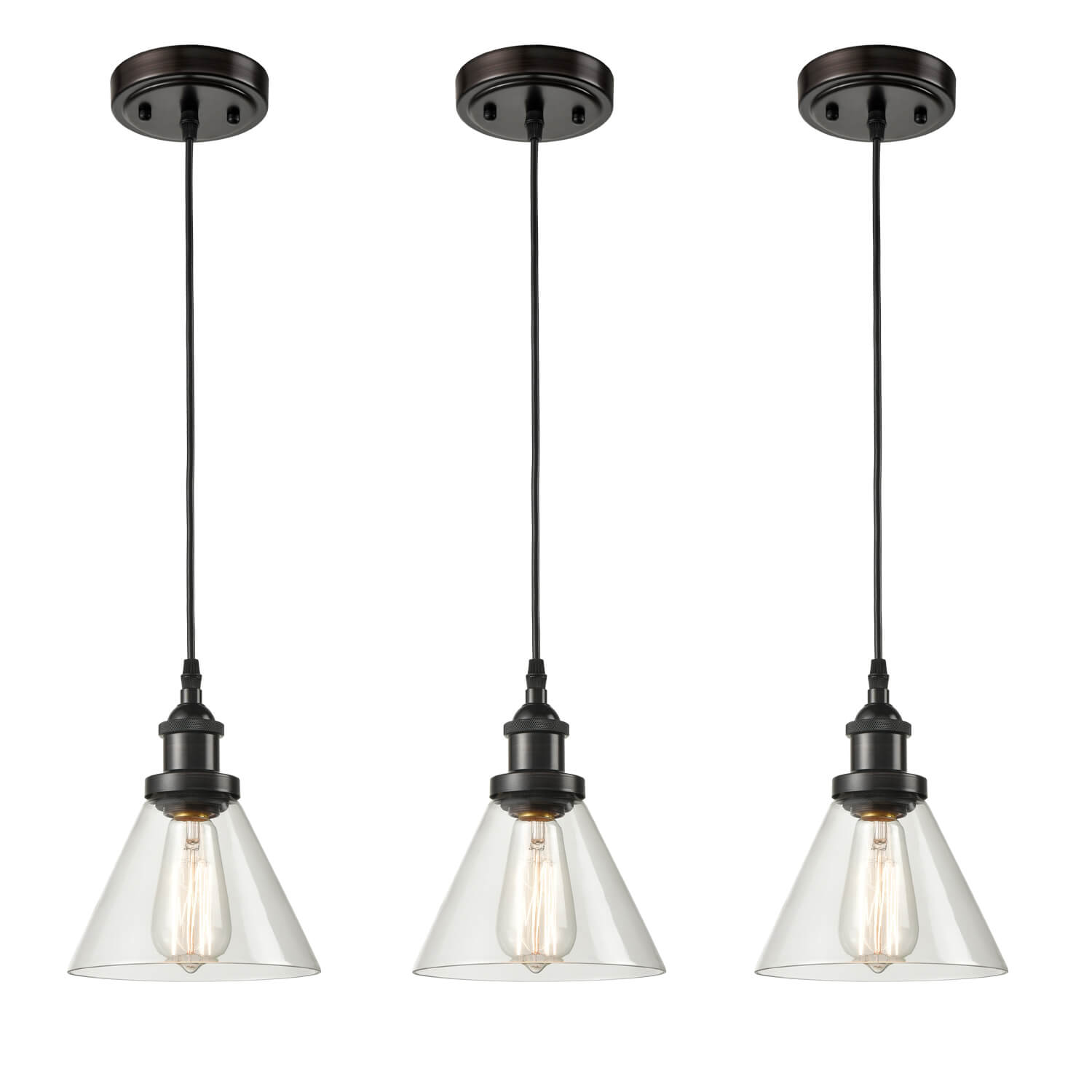 Industrial 3 Pack Glass Pendant Lights Handcrafted Oil Rubbed Bronze