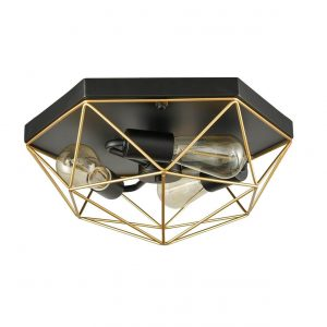 Brass Metal Frame Ceiling Lighting Cage Flush Mount Ceiling Lights