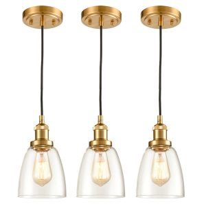 Brass Mini Modern Industrial Pendant Light Glass Bell Light Fixture