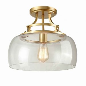 Brass Modern Ceiling Lights Fixture with Clear Glass Shade Gold Finish
