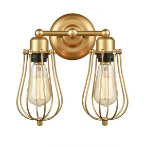 Brass Wall Sconces 2 Light Industrial Wire Cage Wall Lights Fixture