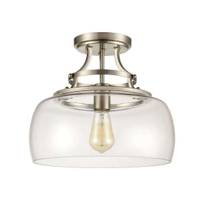 Brushed Nickel Modern Ceiling Light Fixture with Clear Glass Shade