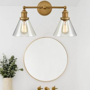 Contemporary Brushed Brass Clear Glass Shade Wall Sconces 2 Lights