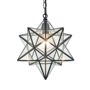 Contemporary Moravian Star Clear Glass Pendant Lights, 14-inch Diameter