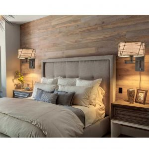 Farmhouse Brown Swing Arm Wall Lamps Fabric Plug in Wall Lights