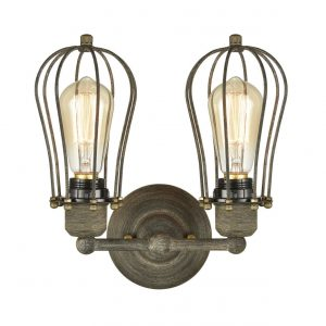 Farmhouse Double Light Caged Wall Sconces Metal Wall Lamp