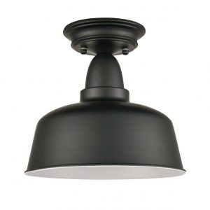 Farmhouse Matte Black Ceiling Light Fixture Rustic Barn Flush Mount