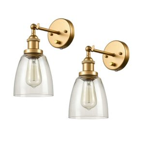 Glass Wall Sconce Industrial Brass Hardwired & Plug-in Wall Light-2 Pack