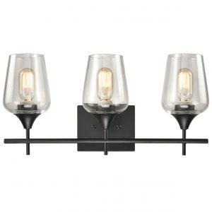 Industrial 3-Light Black Vanity Lighting Jar Glass Wall Sconces
