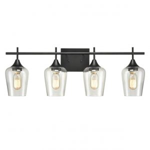 Industrial 4-Light Black Vanity Lighting Jar Glass Wall Sconces